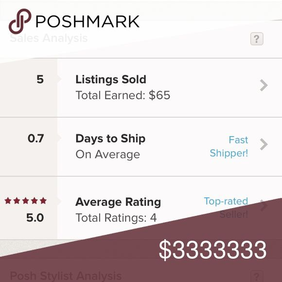 Ship fast plus 5 star rating! 😊❤️ My poshmark stats. And i am new too to poshmark selling! Other