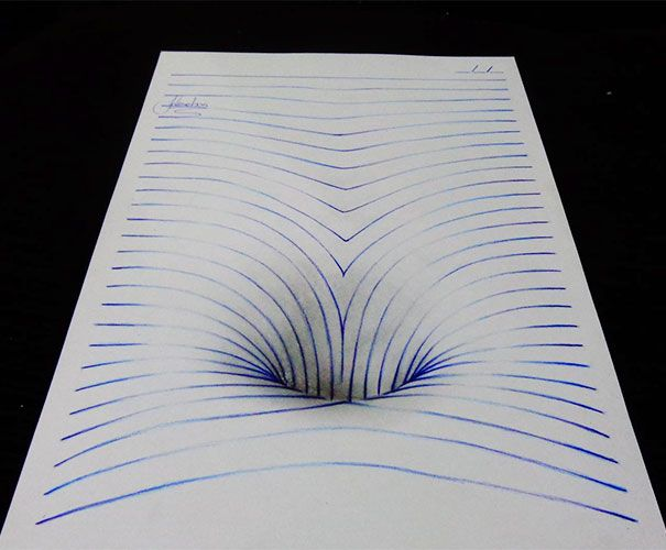 "Artist Joao Carvalho, a.k.a. J Desenhos, draws notebook pages, which might seem boring until you see how he manages to twist and turn these notebook pages into amazing 3D drawings. And he's only 15 years old! Carvalho bends the blue ""notebook lines"" that he draws across the page and then adds shading to complete his drawings."