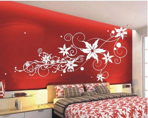 I love this flower wall stencil... would look great on my already red bedroom walls