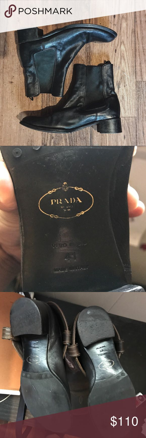 Prada Black Leather Chelsea Boots Prada Black Leather Chelsea Boots. Size 41. The only defect besides slight wear, is a small spot on the inside. It isn't really visible, but is pictured. Prada Shoes Ankle Boots & Booties