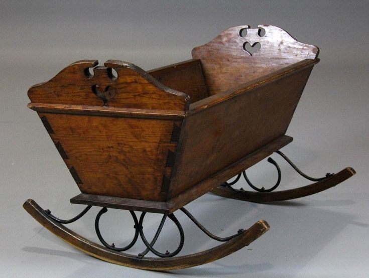 *BABY CRADLE ~ American Pine & Iron-mounted Baby Cradle, c. early 19th century