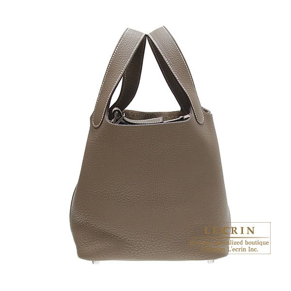 Hermes Picotin bag PM Etoupe/Taupe grey Clemence leather Silver ...