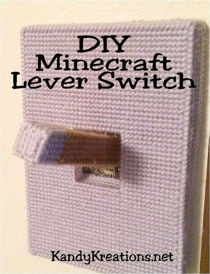 Make your own DIY Minecraft lever switch to cover your light switch at home.  Add this easy switch to make a perfect Minecraft bedroom for your favorite builder using plastic canvas and this free pattern.