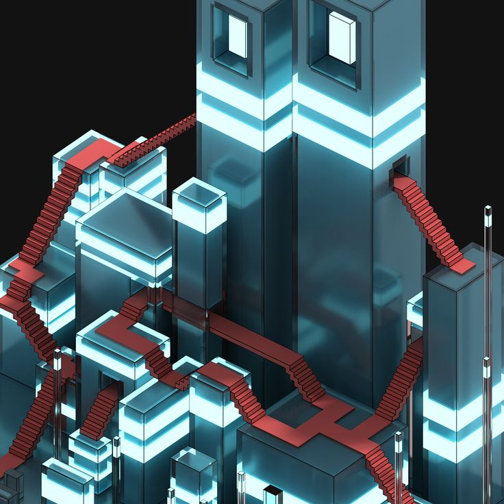 The monument grid - Voxel art on Behance