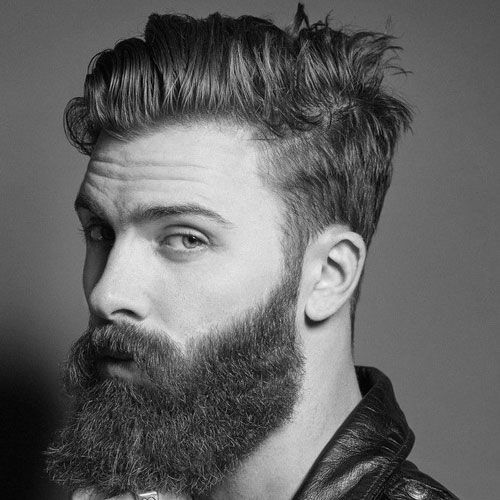 Short Comb Over + Tapered Sides + Cool Beard