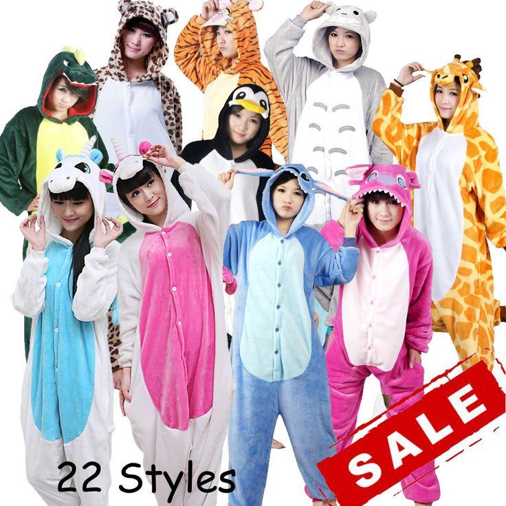 Pas cher Gros Licorne Point Panda Unisexe Flanelle À Capuche Pyjamas Costume…