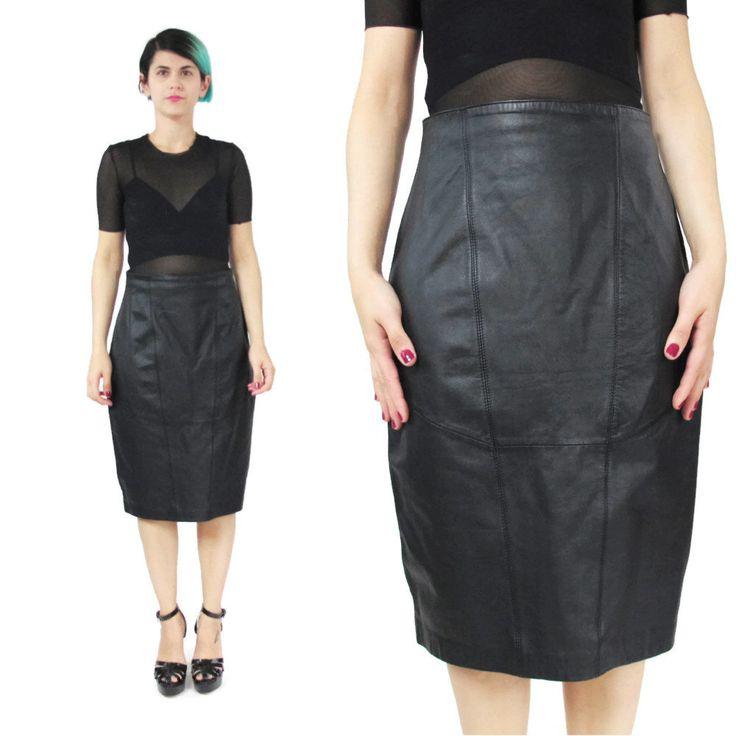 New to honeymoonmuse on Etsy: Black Leather Skirt Vintage Leather Skirt High Waisted Skirt Biker Minimalist Panelled Leather Skirt 1980s Wilson's Leather Pencil Skirt (S) (50.00 CAD)