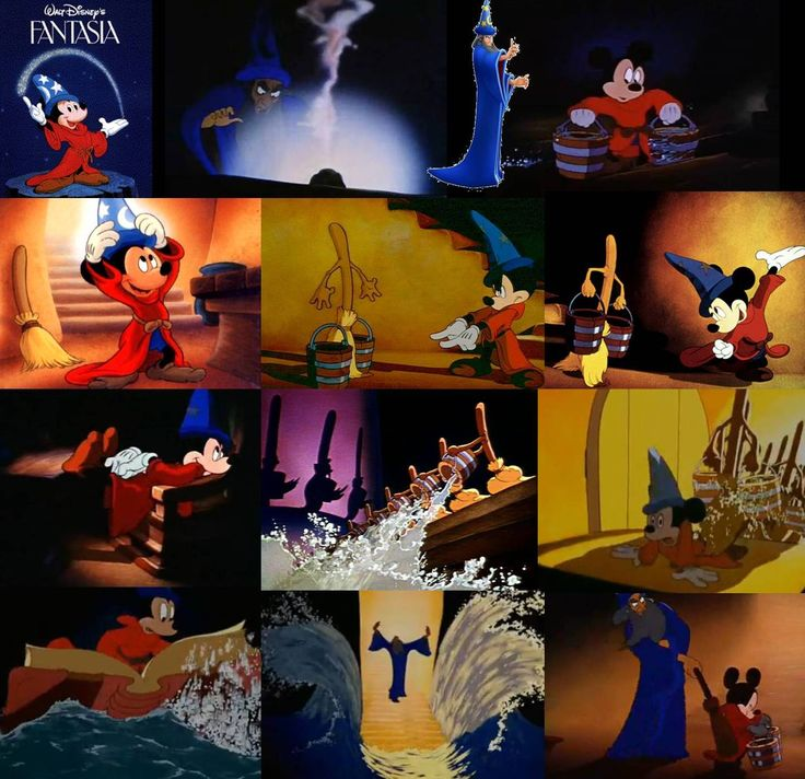 "The Sorcerer's Apprentice by Paul Dukas. Based on Goethe's 1797 poem ""Der Zauberlehrling"". Mickey Mouse, the young apprentice of the sorcerer Yen Sid, attempts some of his master's magic tricks but doesn't know how to control them."