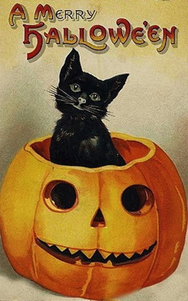 tin sign old drawing greeting postcard happy halloween pumpkin black cat cm large metal wall decoration vintage retro classic plaque - Old Fashion Halloween