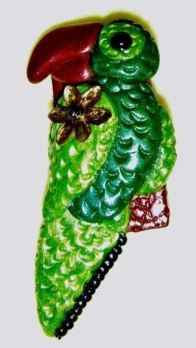 Whimsical Green Polymer Clay Beaded Parrot pin brooch from CreativeCritters