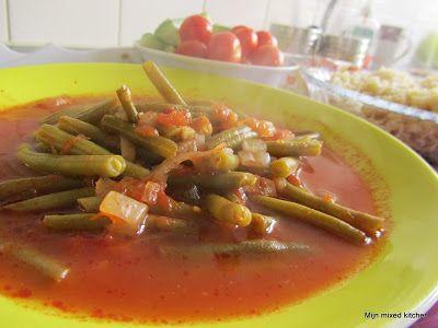 Mijn mixed kitchen: Zeytinyağlı taze fasulye (sperziebonen met ui, tomaat en knoflook)