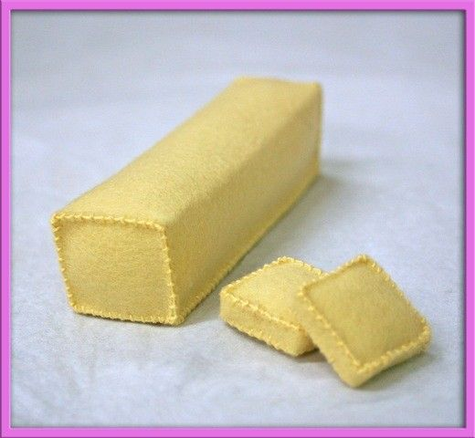 Wool Felt Play Food - Butter - Waldorf Inspired Play Kitchen Accessory for Imaginative Play.