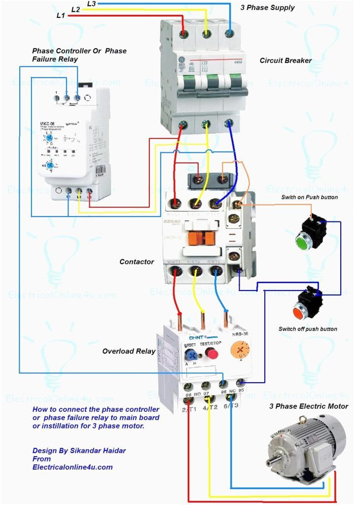 Wiring Diagram For Motor Starter 3 Phase Controller Failure Relay Electrical Pleasing Three And C Electrical Wiring Electrical Panel Wiring Electrical Projects