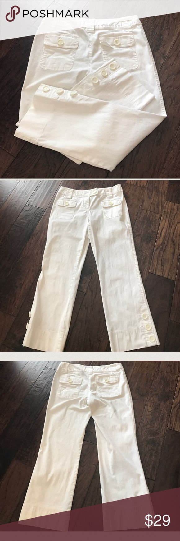 EUC White INC Crop Brand:  INC   Style: white cropped with buttons  Measurements Laying Flat:   Waist-   15.   Total-  30 Front Rise:  8.5 Back Rise: 14 Inseam- 25 Size- 4   CONDITION: EUC  ❌Trades❌  ⚡️I ship lightening fast⚡️  🎉Discounts with bundles🎉 INC International Concepts Pants Ankle & Cropped
