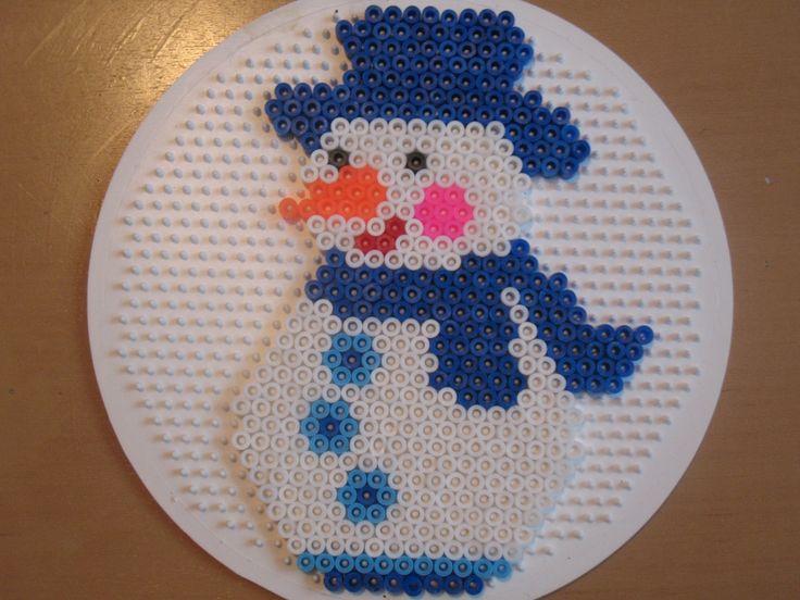 Winter snowman perler beads