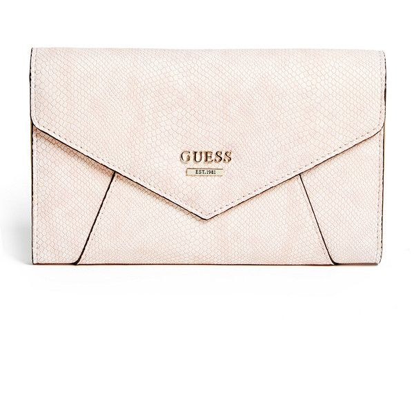 GUESS Gia Python-Embossed Wallet (£33) ❤ liked on Polyvore featuring bags, wallets, light rose, snake skin bag, snake print bag, guess wallet, guess bags and pink bag