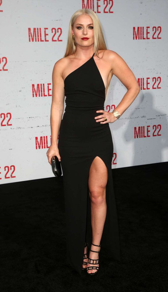 Lindsey Vonn Black Dress At Mile 22 Premiere In Los
