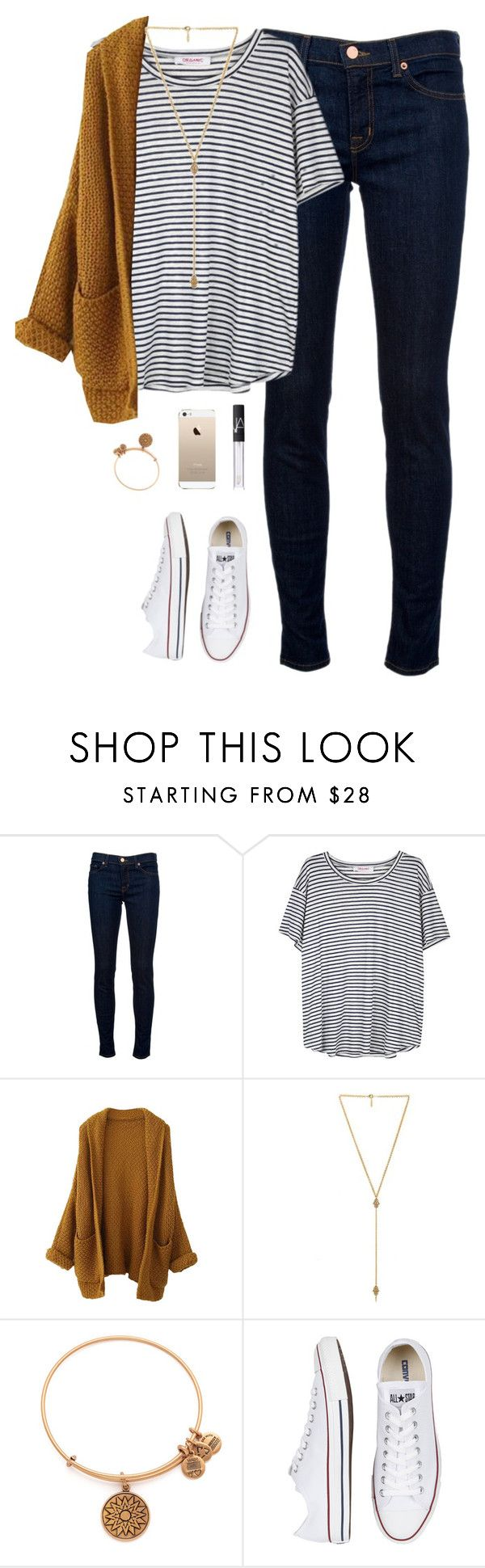 """""""fall casual"""" by classically-preppy ❤ liked on Polyvore featuring J Brand, Organic by John Patrick, Ettika, Alex and Ani, Converse and NARS Cosmetics"""
