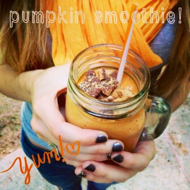 Pumpkin Smoothie!   We substituted the brown sugar for coconut sugar!  Add your favorite Foodie Fuel to the top!