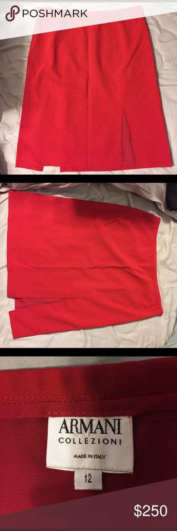 Armani Red Skirt Size 12 Authentic Armani, Red pencil skirt with double slits Armani Collezioni Skirts Pencil