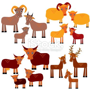 funny animals with cubs. Goats, sheep, cows, deer white background. Royalty Free Stock Vector Art Illustration
