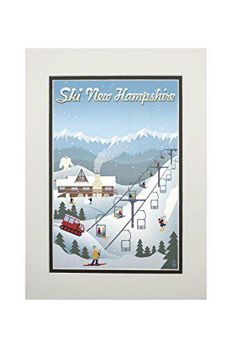 New Hampshire - Retro Ski Resort (11x14 Double-Matted Art Print, Wall Decor Ready to Frame)