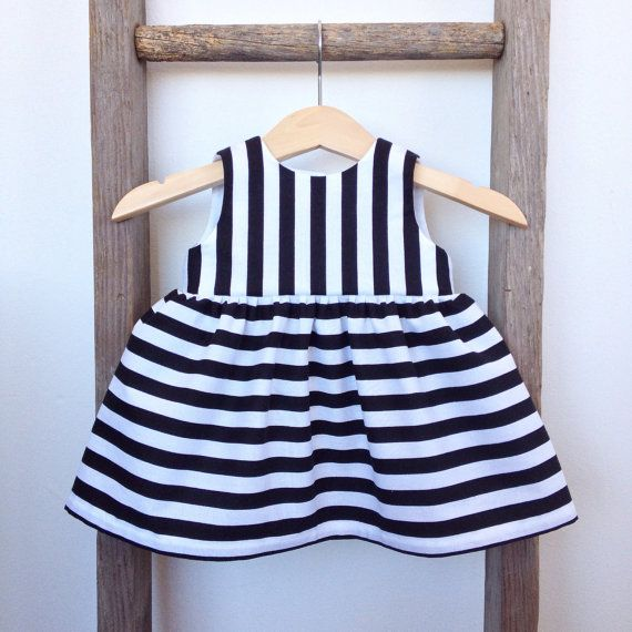 Baby Brea  Girls Dress / Black & White Stripes by threexfour
