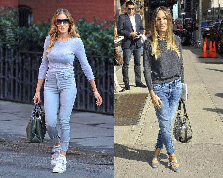 Con il modello di jeans a vita alta Sarah Jessica Parker spinge ogni linea del suo corpo verso l'alto: spostando il punto vita, sale anche il resto. Orlo dei pantaloni, anche in funzione delle sneaker e le maniche della t-shirt. Perfetta. Altro capolavoro con i jeans boyfriend, cavallo basso, caviglia stretta e tacchi glitter per aggiungere femminilità.