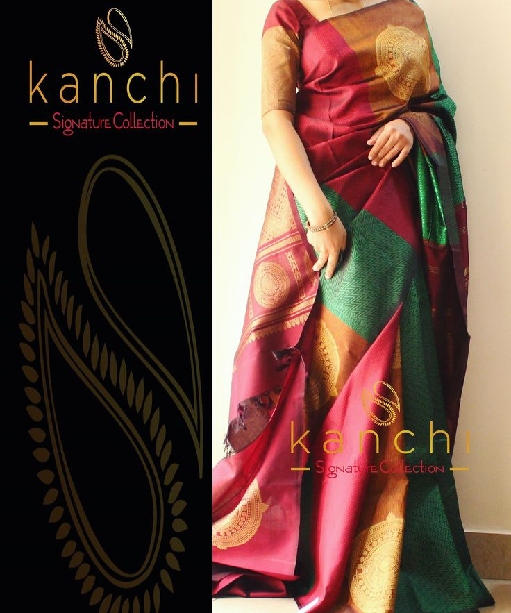 Multicoloured Kanchipuram saree by kanchi signature collection ------ To place an order- WhatsApp us at : 09880859041 ------ Email - kanchi.signature@gmail.com
