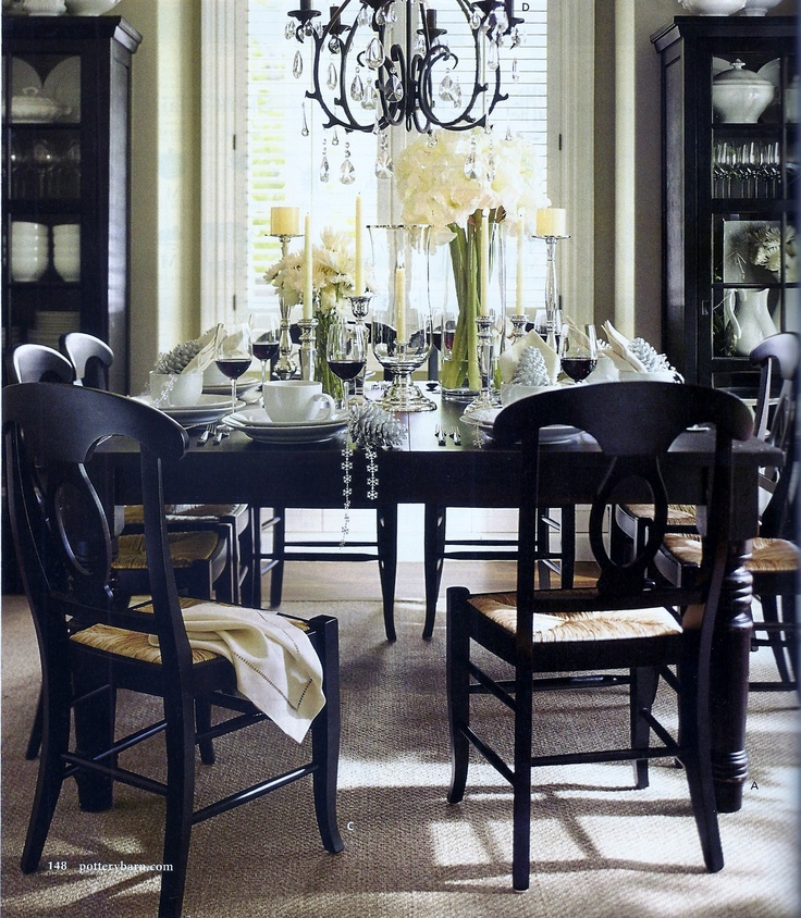 Silver White And Espresso Dinning Room Design