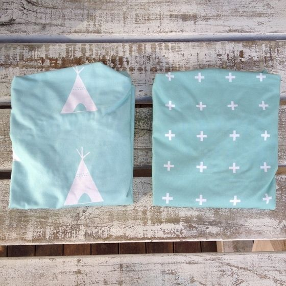 Image of Mint teepee change mat/ bassinet sheet, mint cross change mat sheet/ bassinet sheet