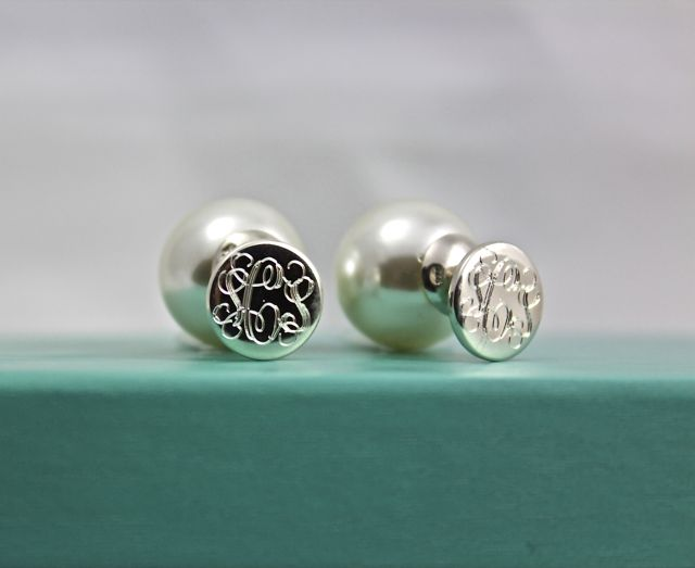 Monogrammed Double Sided Pearl Earrings - Sterling Silver & Genuine Pearl {Trend Alert} #monogram #360pearls