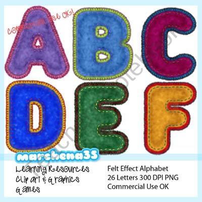 Felt Alphabet Clip Art product from Marchena35-Clip-Art on TeachersNotebook.com