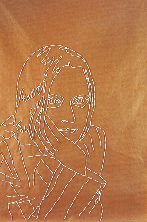 Sarah Lucas - Self-portrait with Cigarettes. Brown paper, cigarettes 266 x 180 cm