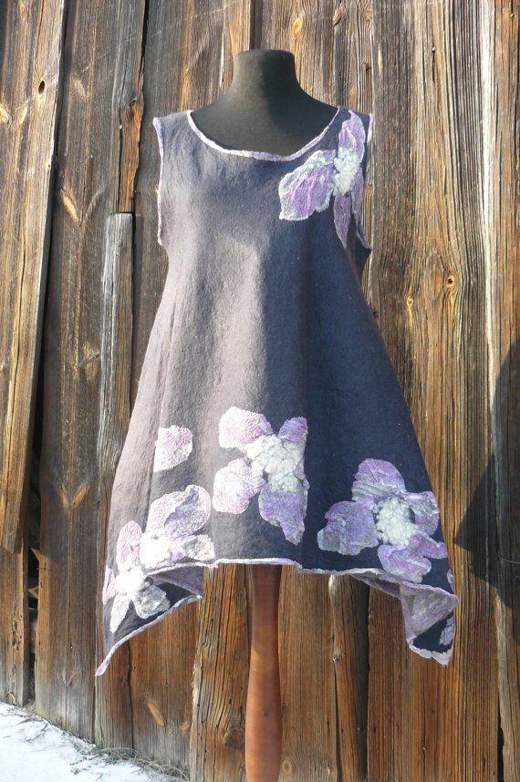 Double sided nunofelted  irregular dark tunic by https://www.facebook.com/pages/Przystanek-R%C4%98KODZIE%C5%82O-Diana-Sencerek/426750357392476?ref=hl