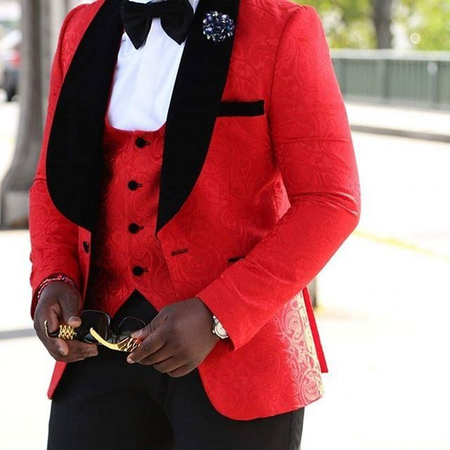 >> Click to Buy << Red Jacquard Chawl Collar Groom Tuxedos Man Prom Dress Suit Business Suits (Jacket+Pants+Vest+Bow Tie) NO:8 #Affiliate