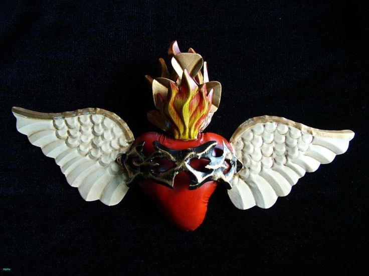 Tin art from Mexico: Hand Painted Sacred Heart with Wings Mexican Folk Art Home