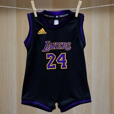 Los Angeles Lakers  Baby Kobe Bryant Black Onesie Jersey - Licensed NBA Baby Clothes that is a newborn Lakers jumper, Kobe Bryant baby bodysuit romper and quality team graphic print designs. Manufactured by Adidas.