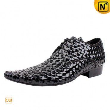 Men's Patent Cowhide Leather Weaving Lace-up Brogue Shoes CW793228