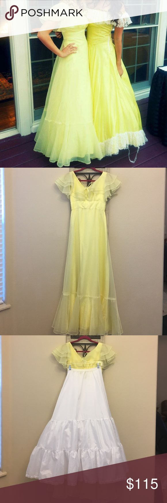Yellow southern belle dress with crinoline skirt This gown is so pretty and is perfect for Old South, costume parties, or any other occasion when you want to look like a southern belle. Comes with crinoline skirt to add fullness. The stitching by the zipper is coming out but this is an easy fix and does not affect the zipper. There are also very minor pulls in the fabric at the bottom, but are not noticeable when worn. Waist is 26 in and length from shoulder to floor is 57 inches. Open to…
