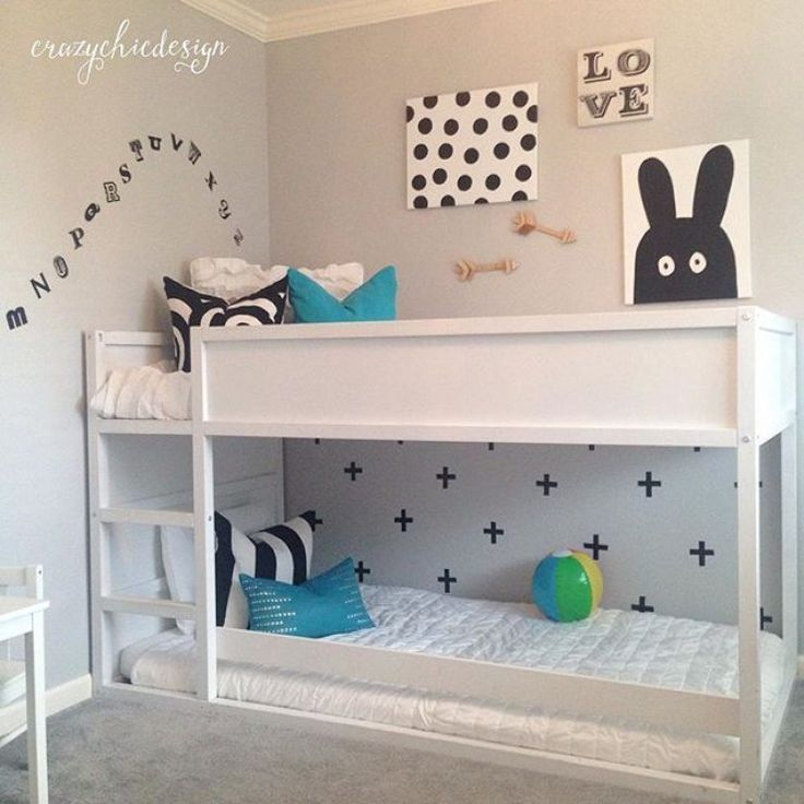 Really like the added railing on the bottom bunk in this picture, especially if the bed is raised for drawers underneath.
