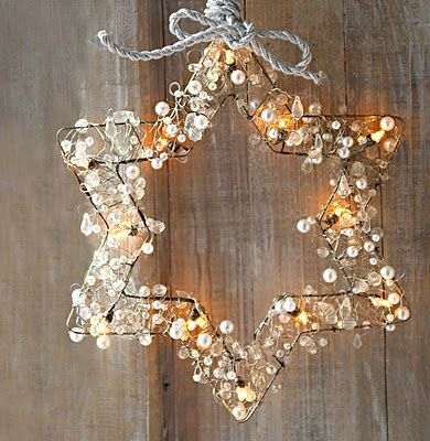Old metal hangers, battery fairy light and a long string of white and transparent beads, maybe some crystals, that looks so nice!!