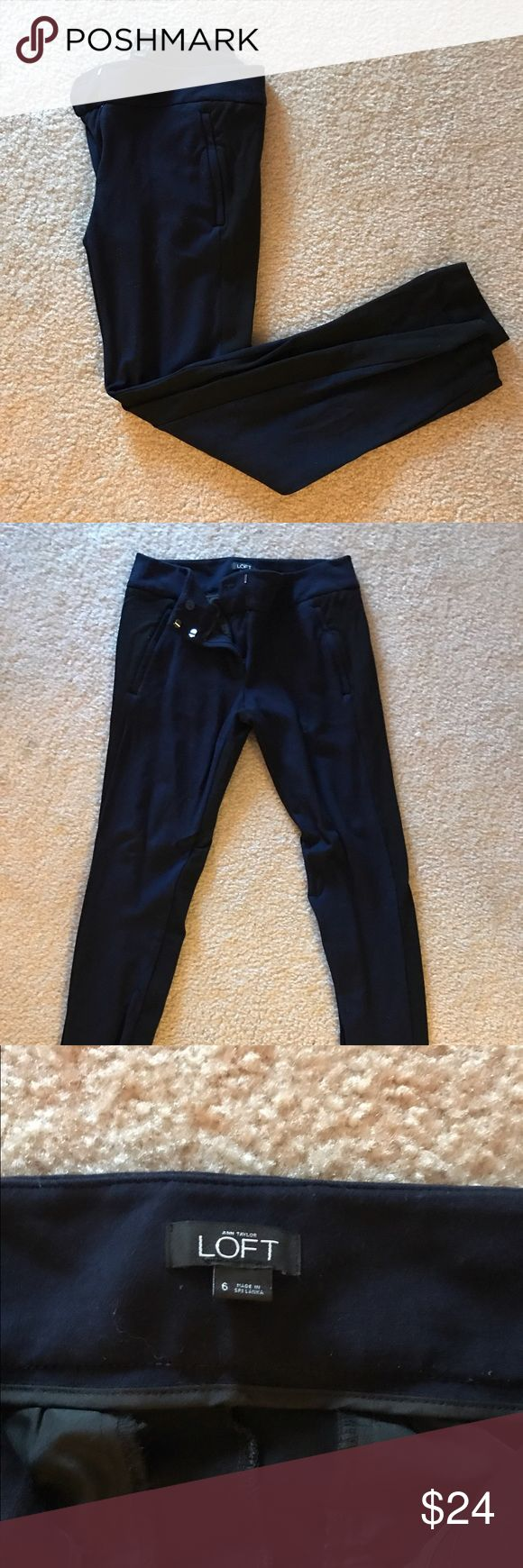 Anne Taylor LOFT Two-Tone Skinnies Anne Taylor LOFT two-tone (black and navy) slim fit, skinny pant. Size 6 in EUC. These pants are super soft with a lot of stretch to them--almost like a thick jersey/cotton material. Great for a business-casual office or dressed up with heels! LOFT Pants Skinny