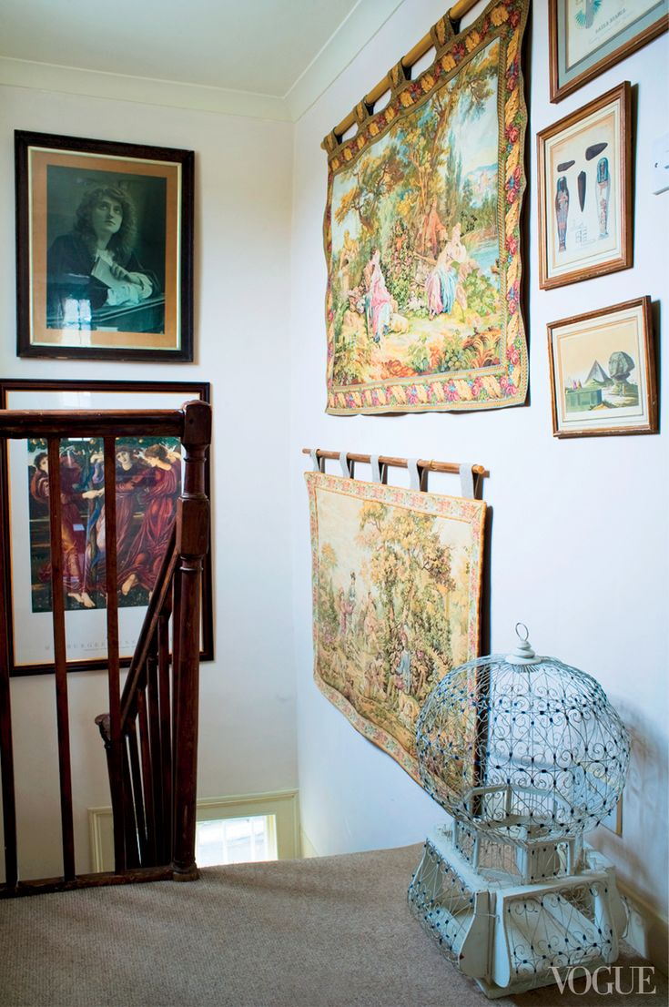 """The singer's tapestry-lined stairwell, dubbed the """"Renaissance Corner""""--Florence Welch's home"""