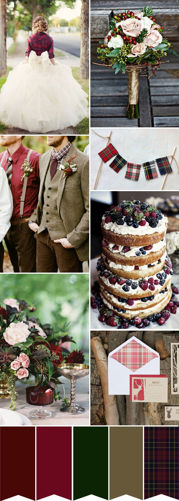 A little bit of Tartan: A Red and Green Winter Wedding Colour Palette | www.onefabday.com // hmmmmmmm... :)