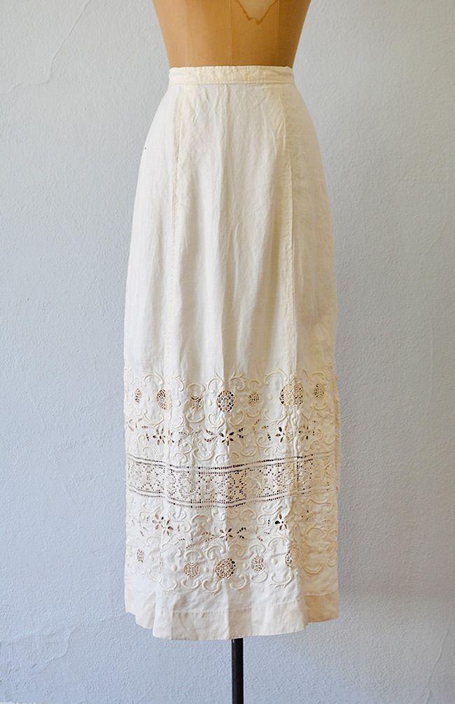 antique 1910s Edwardian embroidered linen skirt