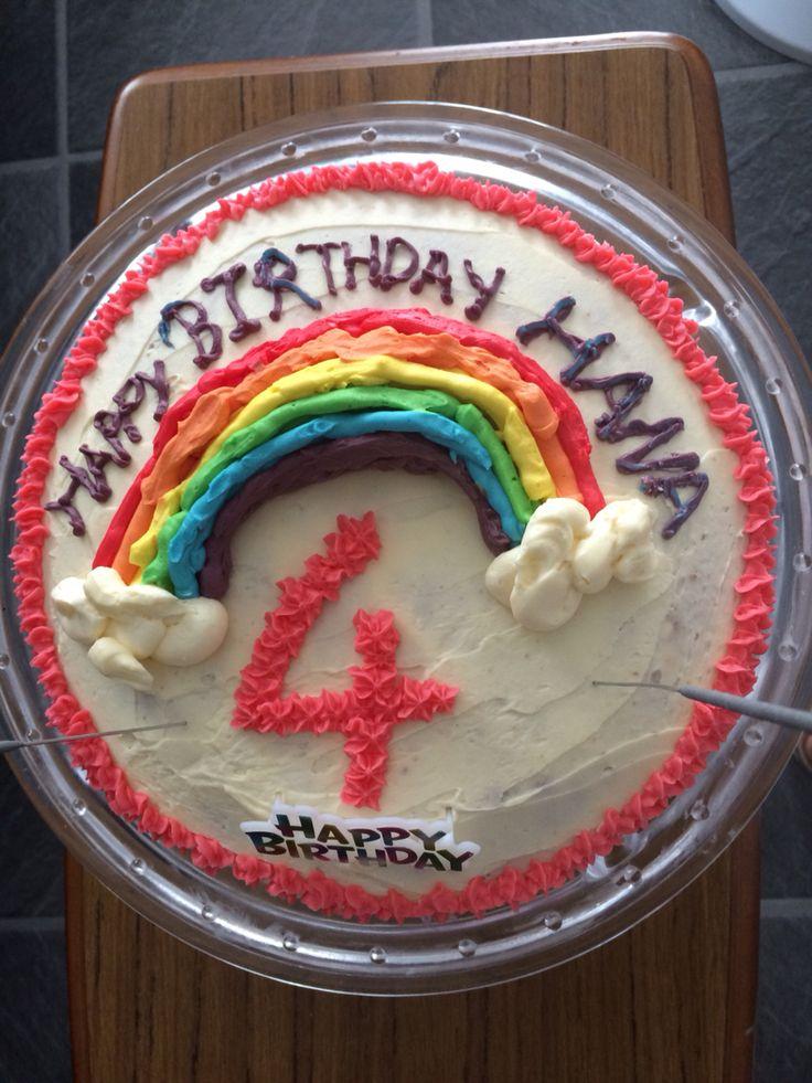 Raspberry swirl cake with rainbow