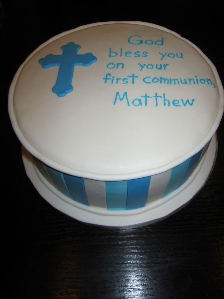 Blue stripes. Communion cake.