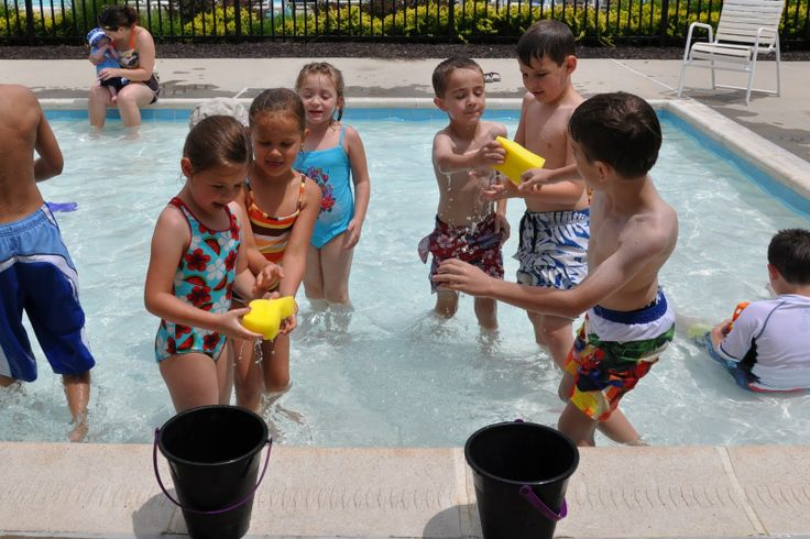 Water relay game, i've seen this played where you take a full bucket of water and a sponge and you have to run your soaked sponge to the next bucket and fill it up...