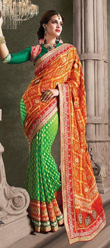 saree Sequin Patchwork Festive Partywear